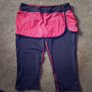NWOT Under Armour pink/grey pants w/attached skirt
